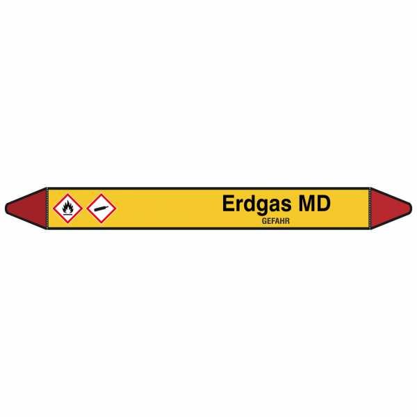 Brady Rohrmarkierer mit Text Erdgas MD - GEFAHR
