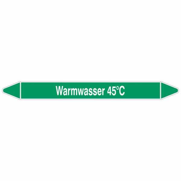 Brady Rohrmarkierer mit Text Warmwasser 45°C