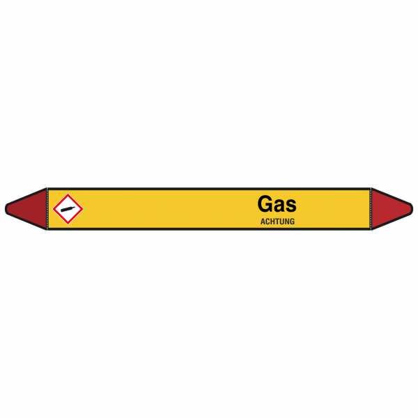 Brady Rohrmarkierer mit Text Gas - ACHTUNG