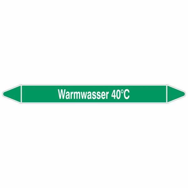 Brady Rohrmarkierer mit Text Warmwasser 40°C