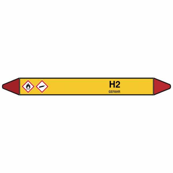 Brady Rohrmarkierer mit Text H2 - GEFAHR